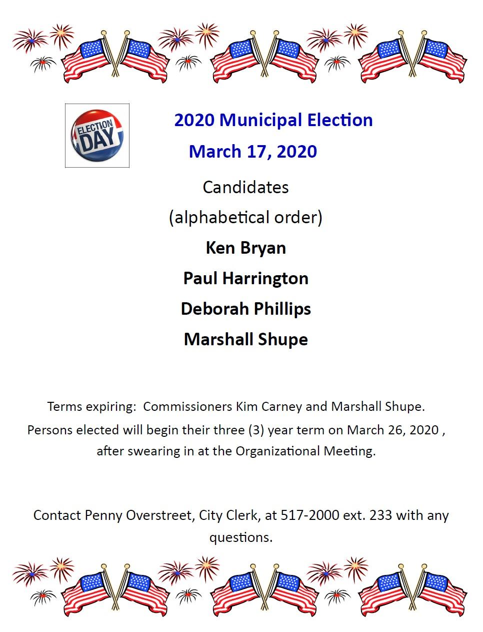 2020 Candidate Flyer Bryan, Harrington, Phillips, Shupe