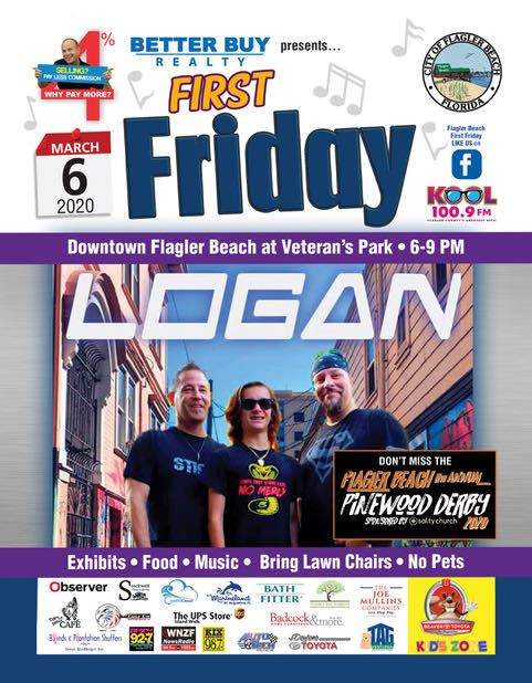 March 2020 First Friday Poster with the band Logan and Pinewood Derby