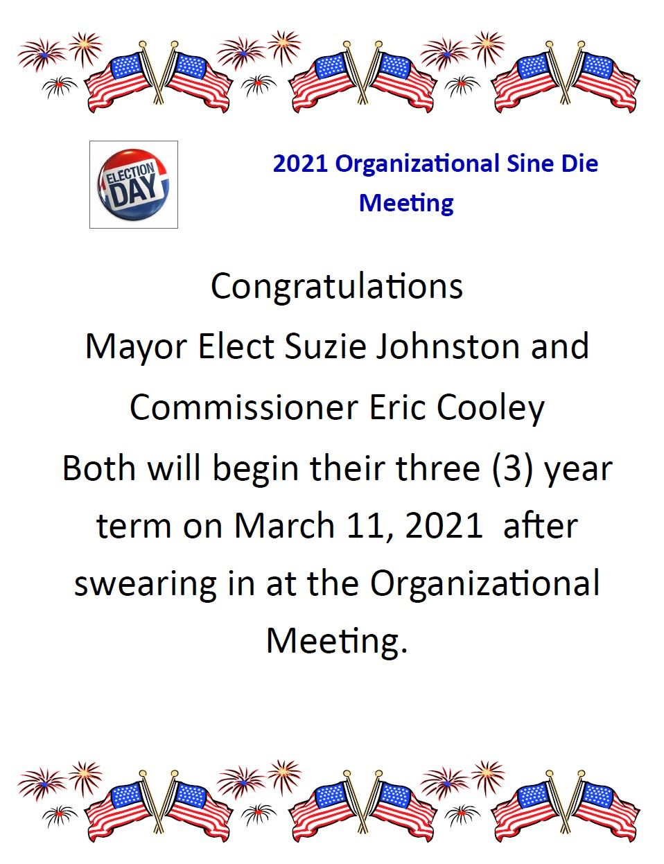 Congratulations election Winners Suzie Johnston and Eric Cooley